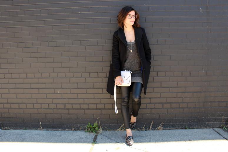 WoahStyle.com | Aritzia Cocoon coat, Alexander Wang knit tunic, Mackage leather leggings and white Novaki bag, Saint Laurent babycat loafers #fallforus #streetstyle