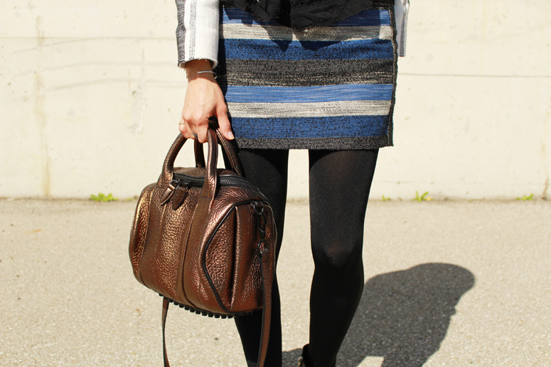 WoahStyle.com | Isabel Marant inspired look with an H&M skirt, Alexander Wang boots and Rockie #streetstyle #fall