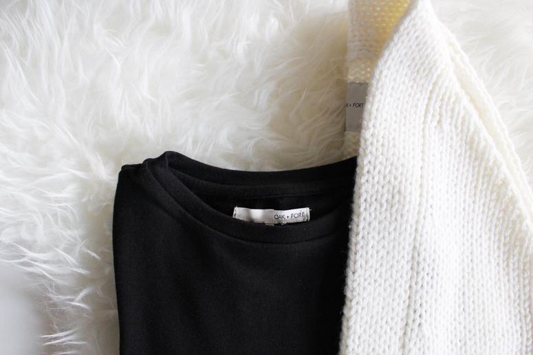 WoahStyle.com | Oak + Fort oversized ivory cardi 7098 and black tshirt dress 1057