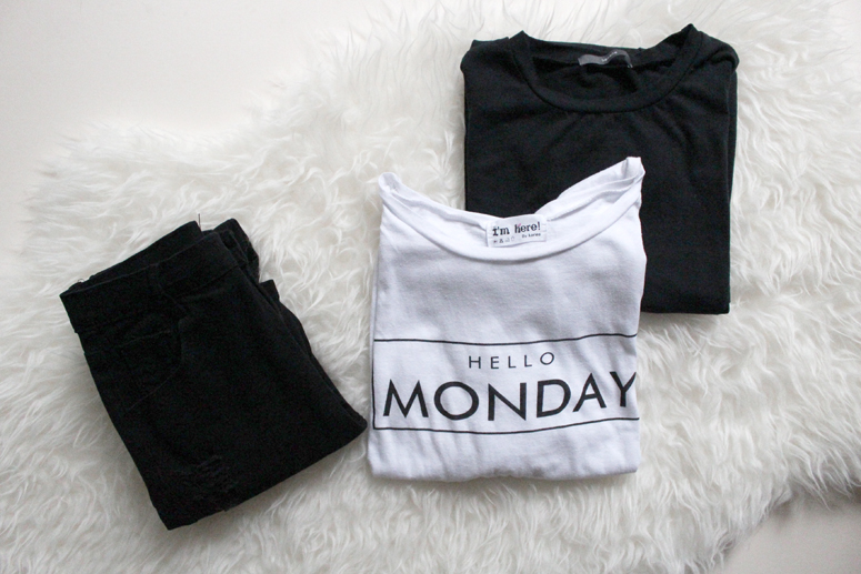 WoahStyel.com | The Free Island Hello Monday tshirt, New Boyfriend tee in black and  Super Skinny Jeans