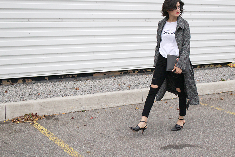 WoahStyle.com | The Free Island Hello Monday tee, super skinny jeans, Aritzia coat and Alexander Wang shoes