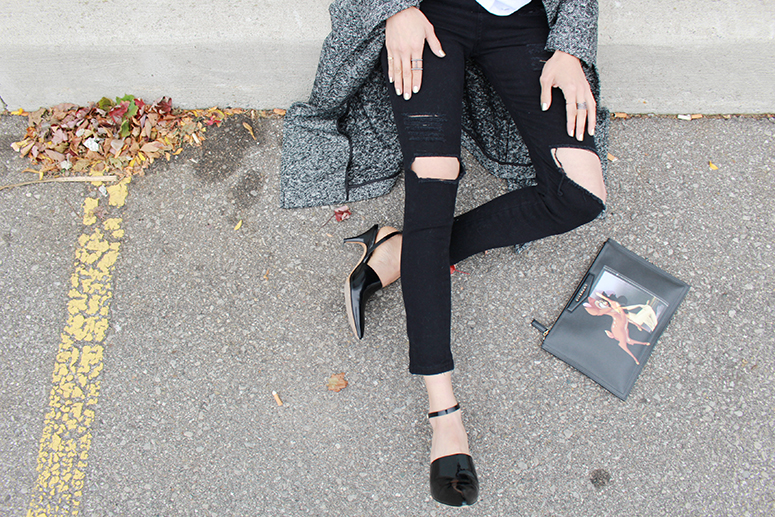 WoahStyle.com | The Free Island super skinny jeans, Givenchy Bambi pouch, Aritzia coat and Alexander Wang shoes