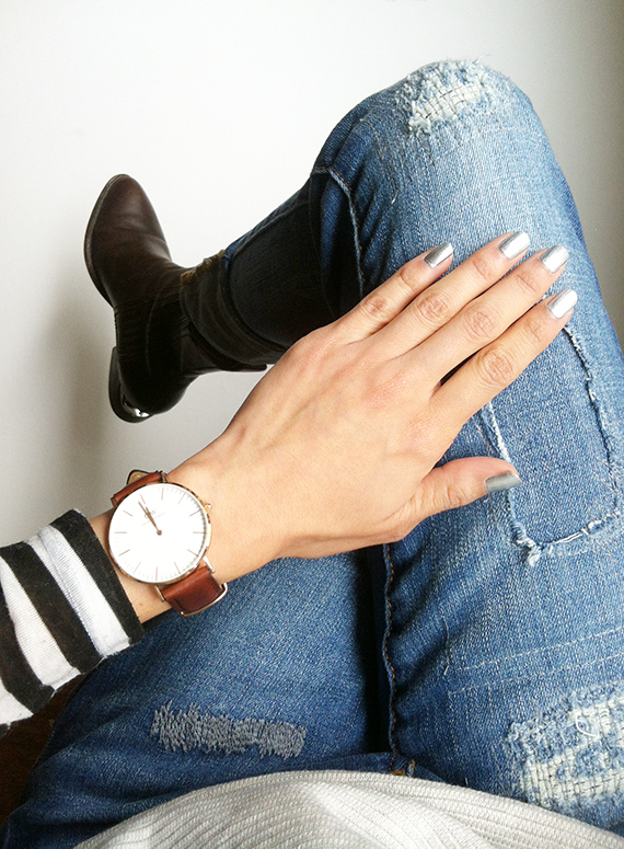 WoahStyle.com | Daniel Wellington Classic St. Andrews Lady Watch, Alexander Wang Anouck boot and Joe Fresh jeans
