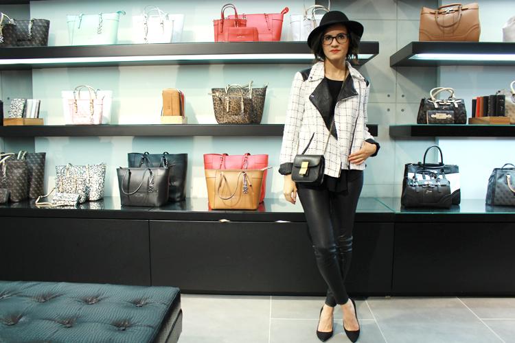 WoahStyle.com   The Free Island jacket and box bag, Mackage leather pants, Jcrew heels, Topshop hat