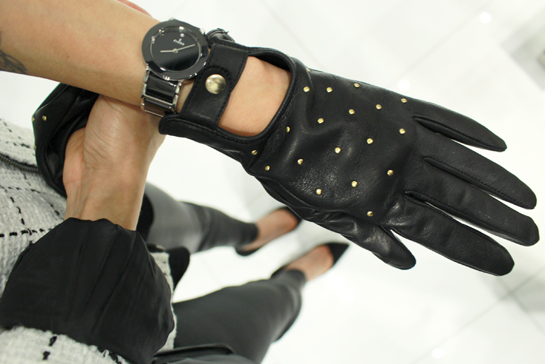 WoahStyle.com   Guess Marciano leather studded motorcycle gloves