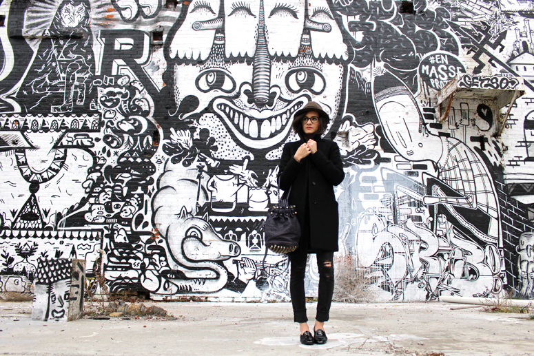 WoahStyle.com | Hat, Aritzia cocoon coat, Mackage leather jacket, Chanel patent leather loafers and Alexander Wang Diego bag #streetstyle