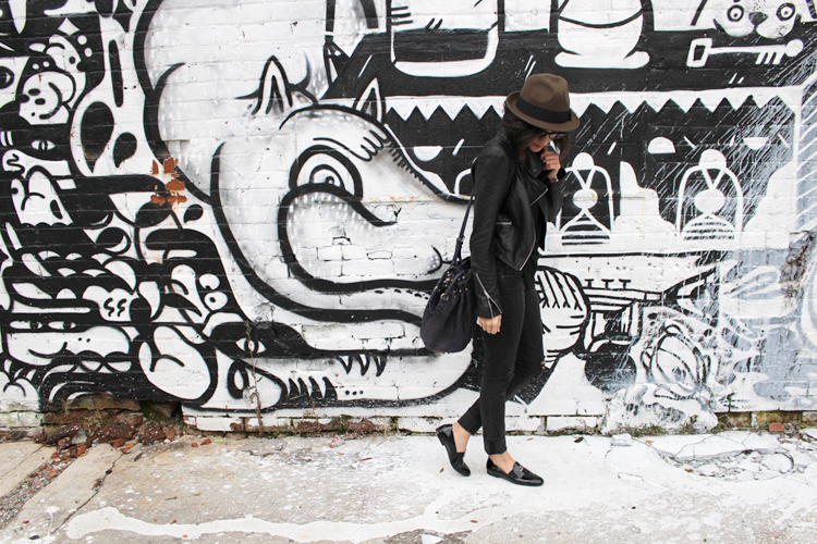 WoahStyle.com | Hat, Mackage leather jacket, Oak + Fort tank, Rag & Bone distressed skinny jeans, Chanel patent leather loafers and Alexander Wang Diego bag #streetstyle