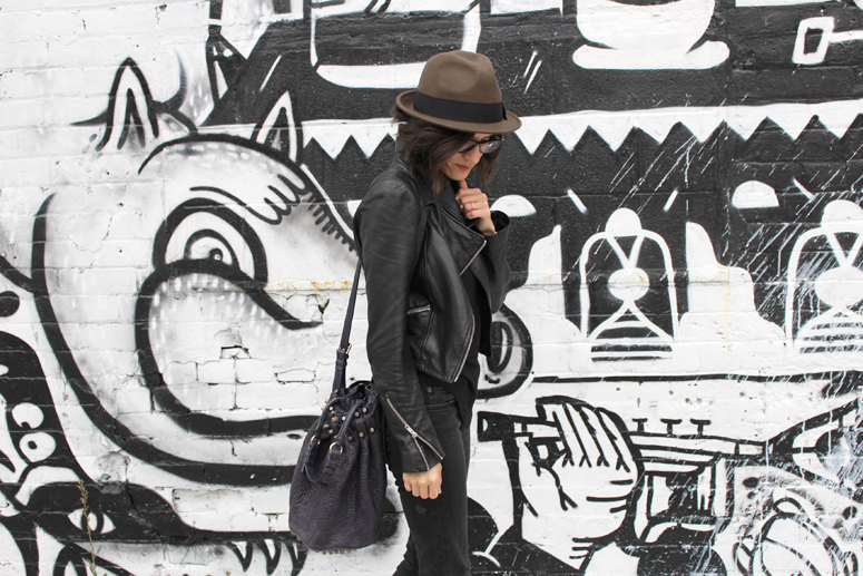 WoahStyle.com | Hat, Mackage leather jacket, Oak + Fort tank, Rag & Bone distressed skinny jeans, and Alexander Wang Diego bag #streetstyle