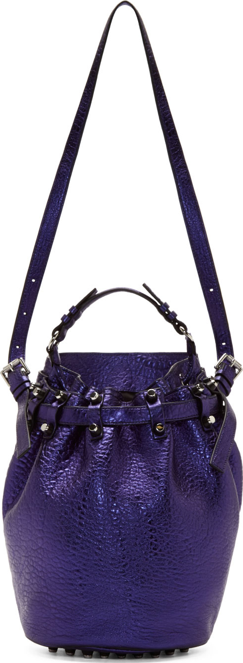 WoahStyle.com | Alexander Wang Nile Blue Metallic Leather Diego Bucket Bag
