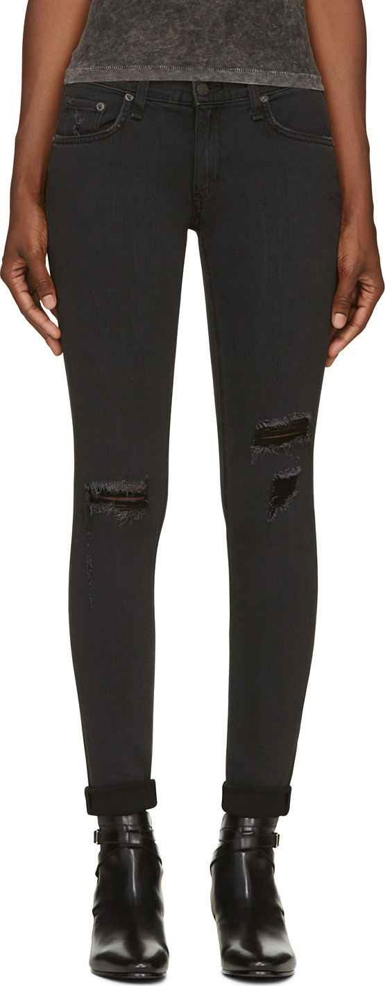 WoahStyle.com | Rag & Bone Black Destroyed The Skinny Jean