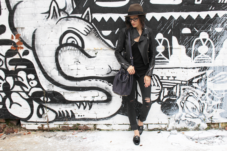 WoahStyle.com | brown hat, black outfit, Mackage leather jacket, Oak + Fort tank, Rag & Bone distressed denim, Chanel moccasin loafers, Alexander Wang Diego bag, glasses #streetstyle