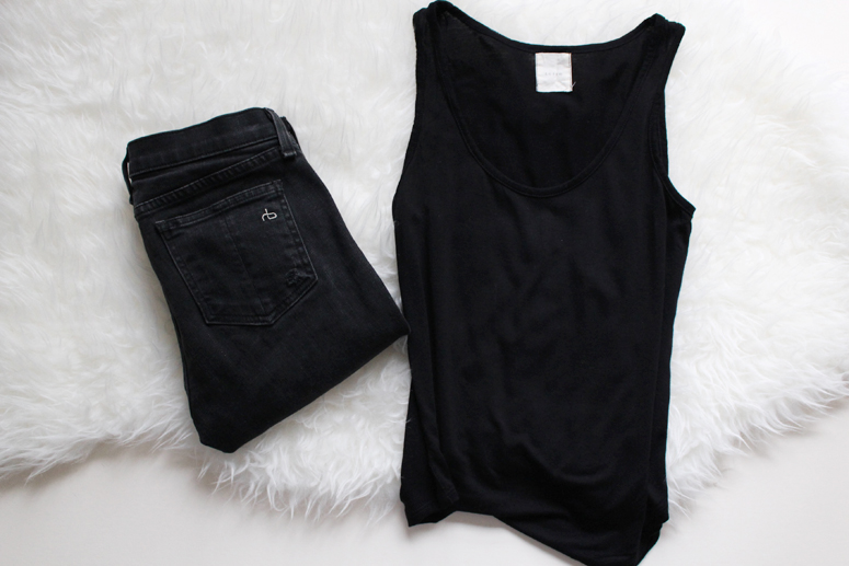 WoahStyle.com | Black Basics, Rag & Bone skinny jeans and Oak + Fort tank top