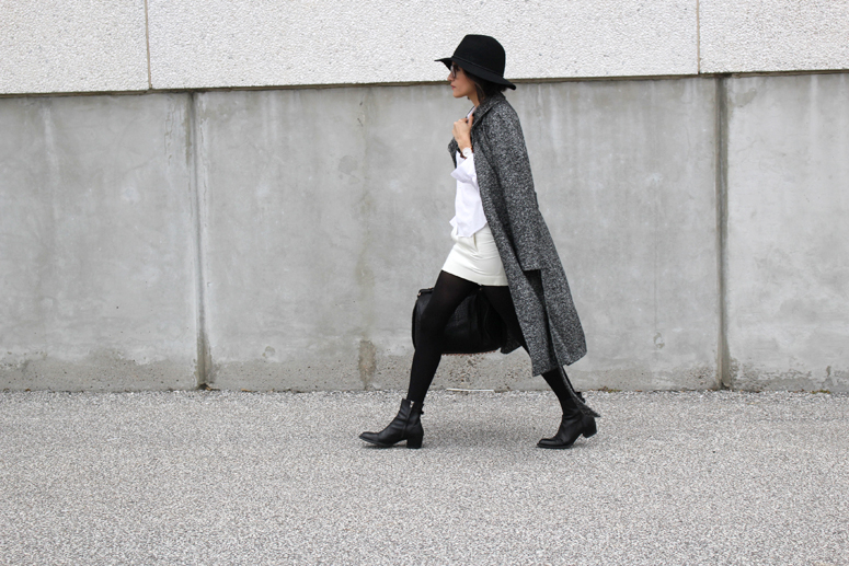 WoahStyle.com   Aritzia Jacoby coat, Comme des Garcons heart logo dress shirt, Alexander Wang Rocco with rose gold hardware, Alexander Wang black ankle boots, Target hat, Chanel glasses.