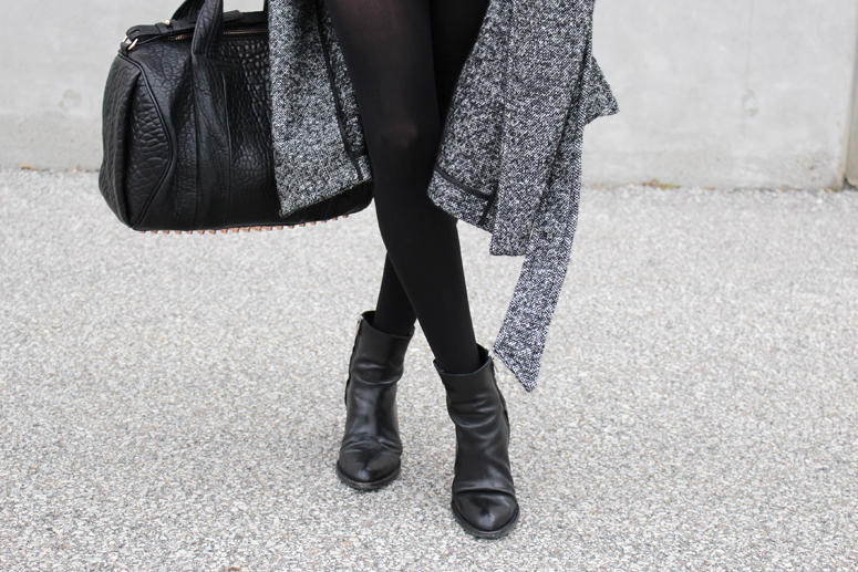 WoahStyle.com   Aritzia Jacoby coat, Alexander Wang Rocco with rose gold hardware, Alexander Wang black ankle boots.