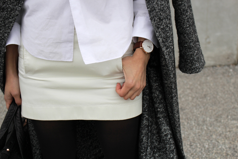 WoahStyle.com   Aritzia Jacoby coat, Comme des Garcons heart logo dress shirt, Alexander Wang Rocco with rose gold hardware and Daniel Wellington Classic St. Andrews Lady Watch.