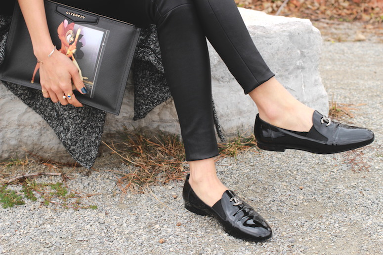 WoahStyle.com | Mackage leather leggings, Chanel moccasins loafers and Givenchy Bambi pouch #streetstyle