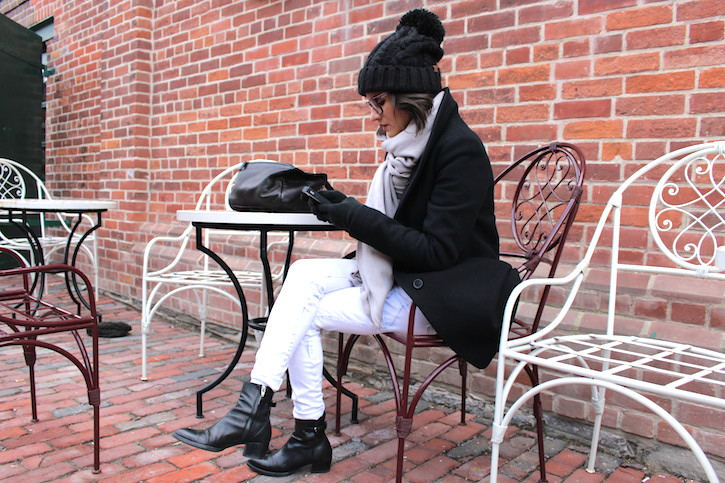 WoahStyle.com | Cold weather street style with pompom beanie, Oak + Fort Scarf, Rag & Bone jeans, Alexander Wang black ankle boots and Givenchy Pandora #whiteafterlabourday