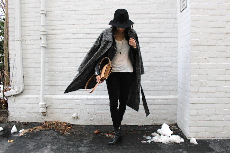 WoahStyle.com | Lisbeth Jewelery, Mackage jacket, hat, moto jeans, Alexander Wang black ankle boots, Alexander Wang Prisma Biker purse bag, Aritzia Jacoby Coat #streetstyle