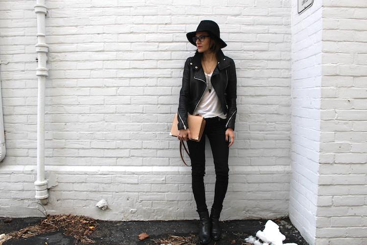 WoahStyle.com | Lisbeth Jewelery, Mackage jacket, hat, moto jeans, Alexander Wang black ankle boots, Alexander Wang Prisma Biker purse bag #streetstyle