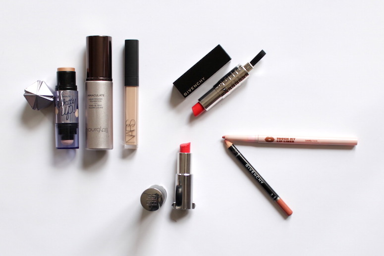 WoahStyle.com | Favourite Makeup for December, Givenchy Lipsticks, nude lip liner, Hourglass Foundation, Nars concealer, Benefit Watt's Up face highlighter