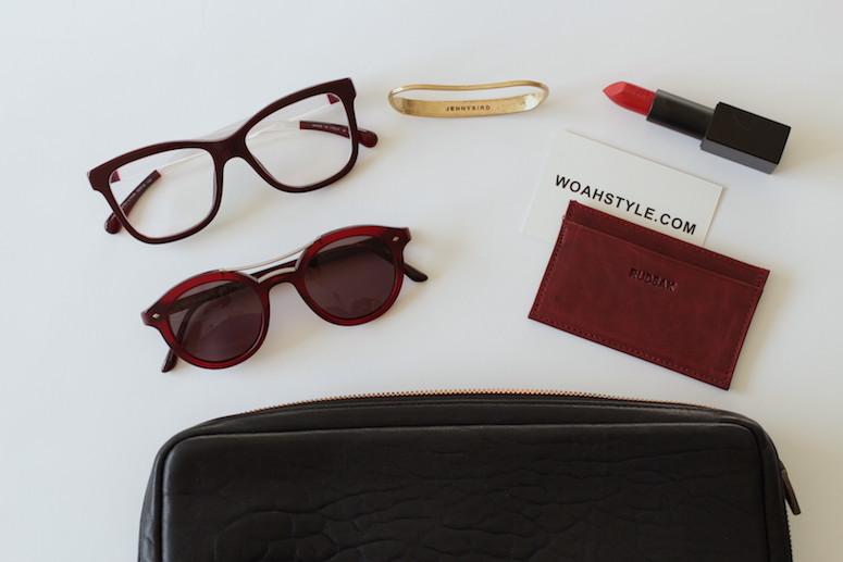 WoahStyle.com | Bordeaux accessories, Rudsak business card holder, NARS Audacious lipstick in Rita, Jenny Bird brass Luna Handpiece
