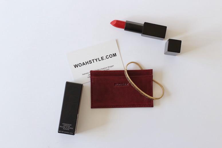 WoahStyle.com | Bordeaux accessories, Rudsak business card holder, NARS Audacious lipstick in Rita, Jenny Bird brass Luna Palm Cuff