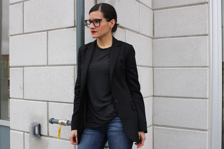 WoahStyle.com   Denim Flares, Slicked back hair and red lips - forecasting 2015 trends #streetstyle