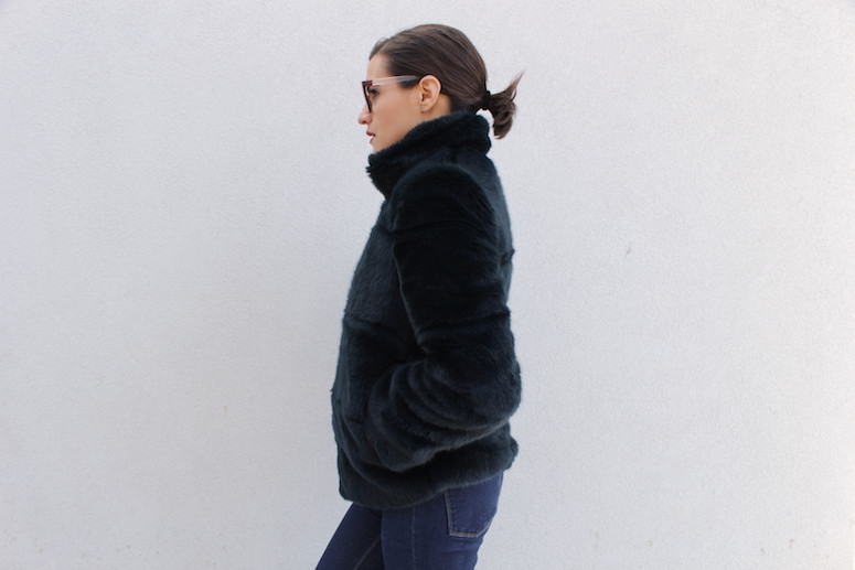 WoahStyle.com | Chanel glasses, Zara navy faux fur, ripped jeans and black Alexander Wang boots #streetstyle #streetwear