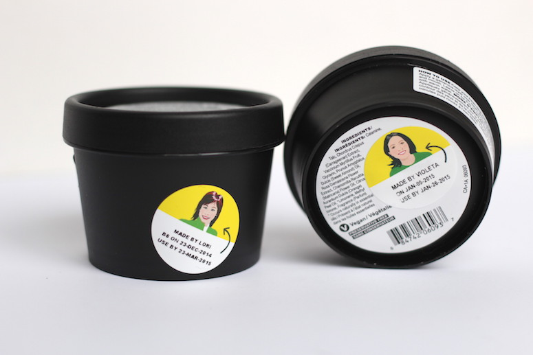 Lush is Canadian and handmade. Each product features a picture of the person who made it, when they made it and when it expires. Cute!