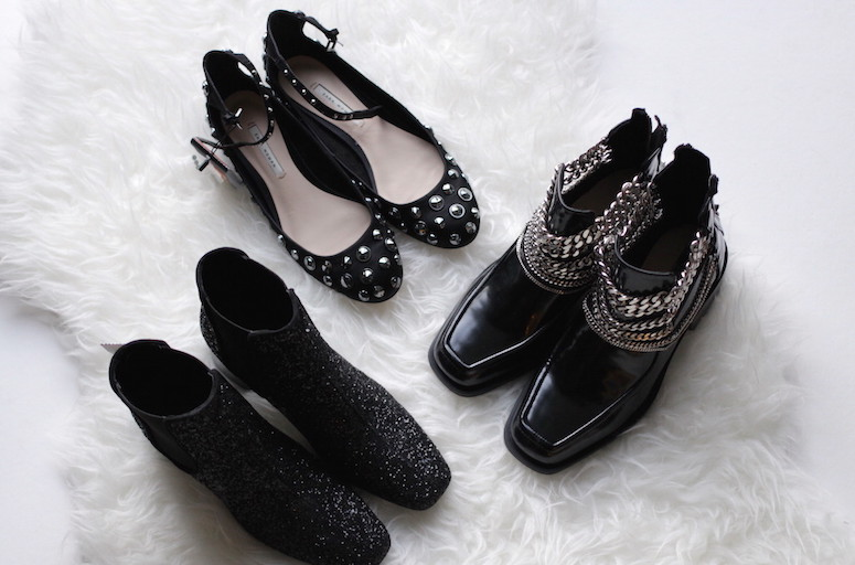WoahStyle.com | Zara glitter chelsea boots, chain boots and studded ankle flats
