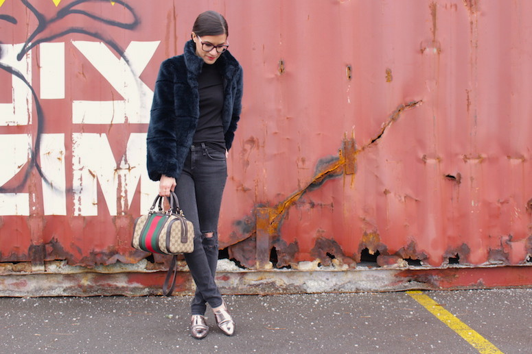 WoahStyle.com   Zara faux fur, Rag & Bone Jeans, Gucci Boston heritage stripes bag, 3.1 Phillip Lim Shoes #streetstyle