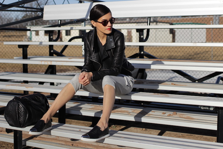 WoahStyle.com | Sprots Luxe trend, sweatpants, leather jacket, Miu Miu shoes and Alexander Wang bag
