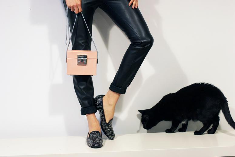 WoahStyle.com| How to wear (faux) leather pants  - with Saint Laurent Loafers