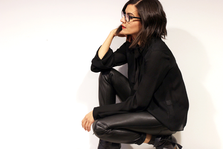 WoahStyle.com | Zara black silk blouse and faux leather pants