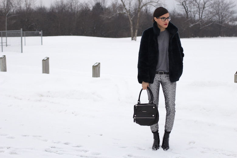 WoahStyle.com | How to style sequin pants, faux fur, grey tshirt and Givenchy Pandora bag with 3.1 Phillip Lim kitten heel boots