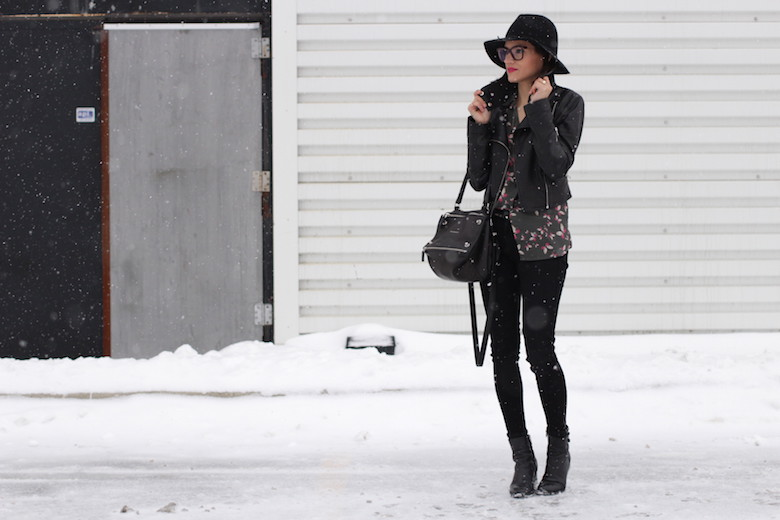 WoahStyle.com | Butterfly printed silk blouse, zippered Rag & Bone jeans, Mackage leather jacket, Target wool hat, Givenchy Pandora and Alexander Wang ankle boots