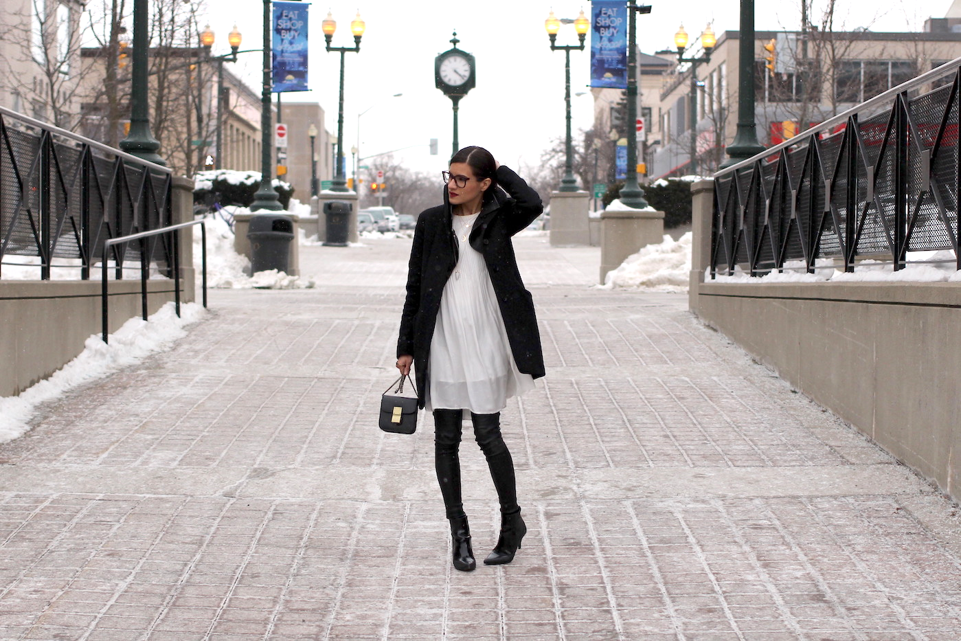 WoahStyle.com | Monochrome dressing with black leather leggings and a white dress