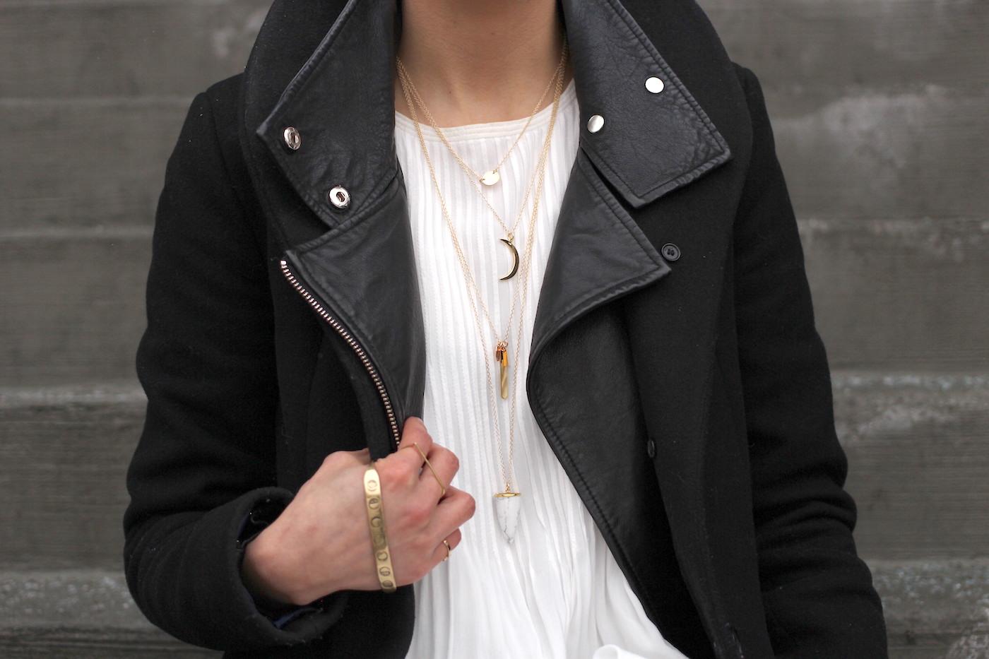 WoahStyle.com | Monochrome dressing with black & white - Lisbeth Jewelry necklaces and Jenny Bird palm cuff