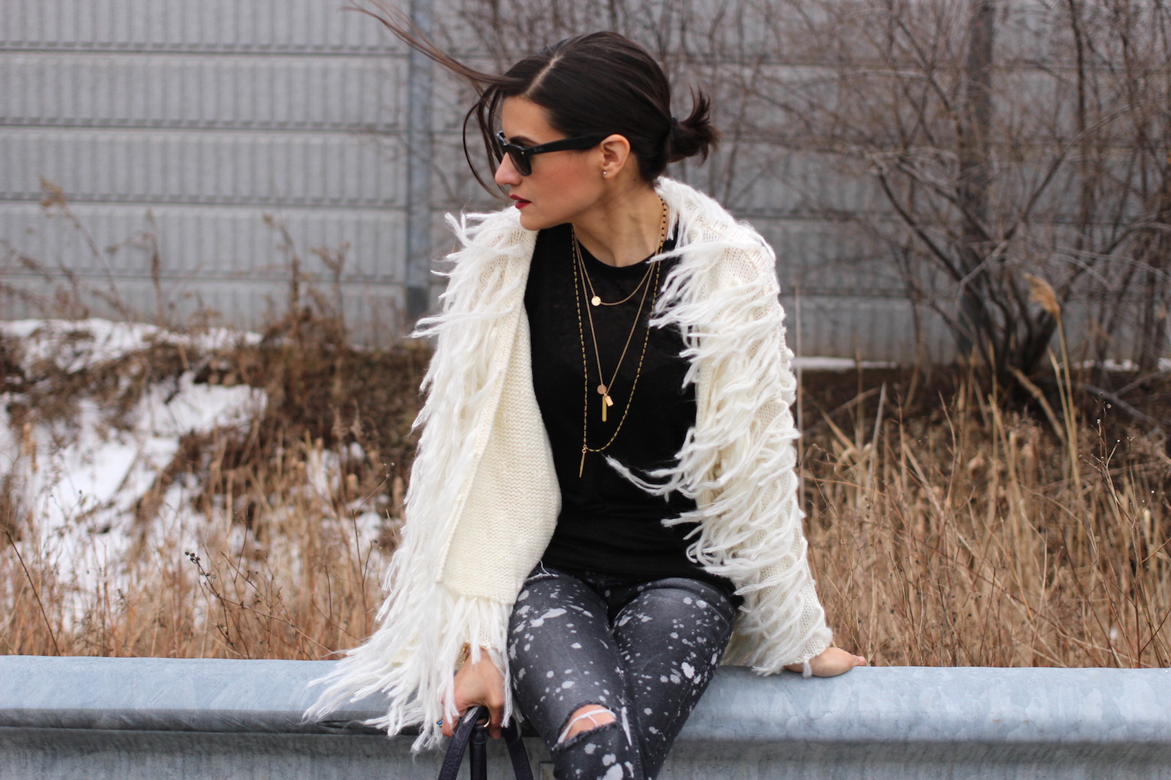 WoahStyle.com | Shag jacket cardigan with jeans and Alexander Wang accessories