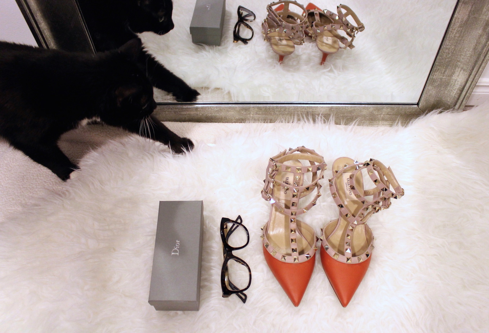 WoahStyle.com | Dior glasses, orange Valentino rockstuds, Tom Ford lipstick in Wild Ginger
