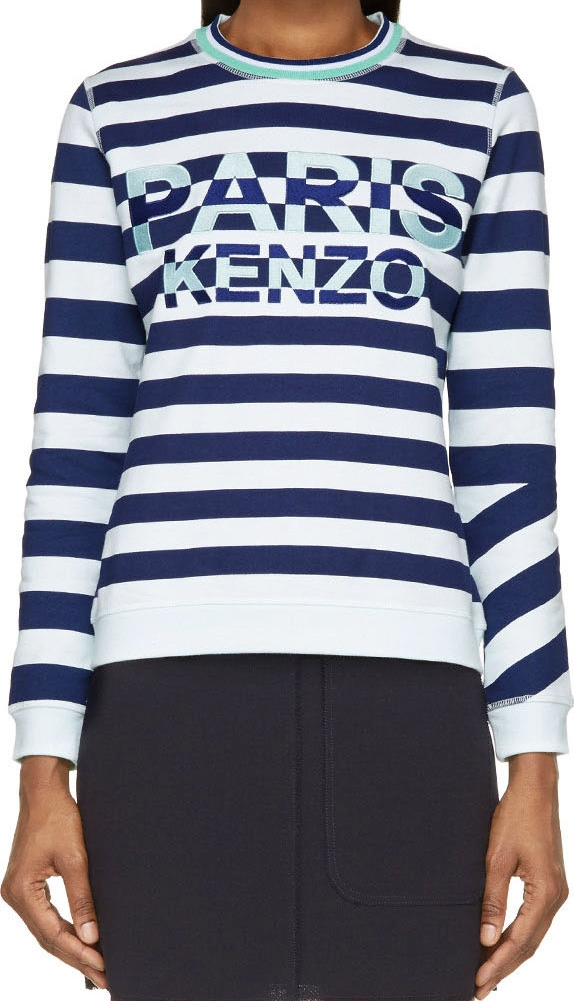 WoahStyle.com | Kenzo  Mint & Navy Striped Paris Sweatshirt