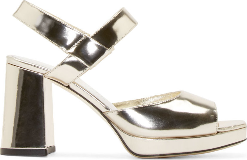 WoahStyle.com | Amélie Pichard  Gold Leather Gaby Heels