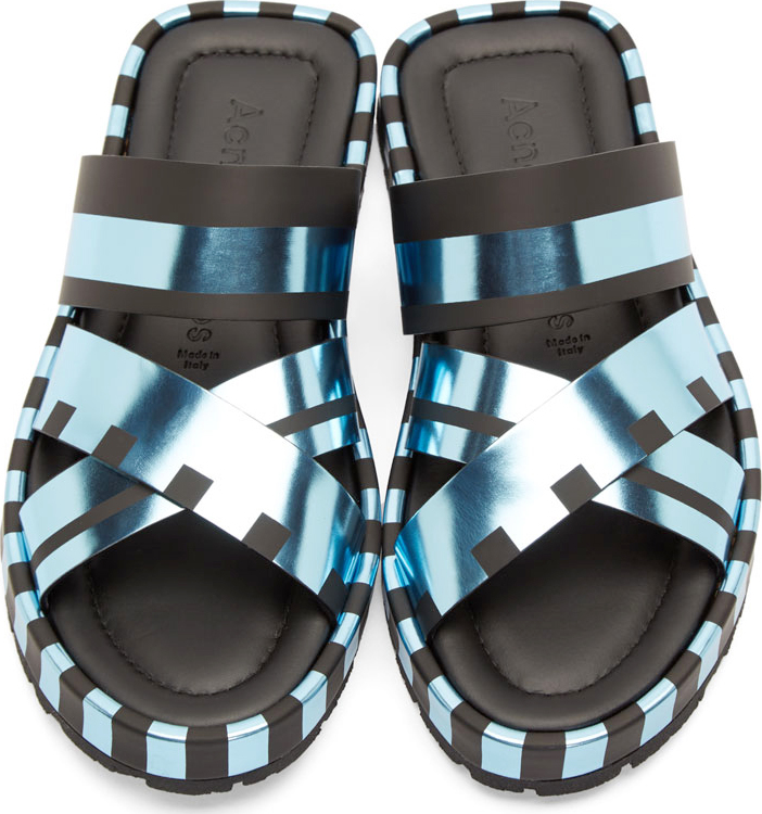 WoahStyle.com | Acne Studios  Blue Metallic Kleate Sandals