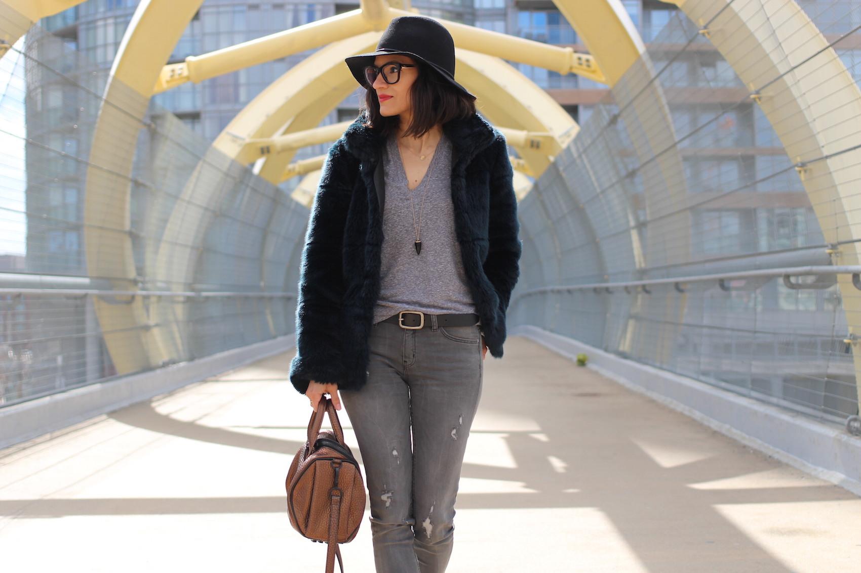 WoahStyle.com | Casual Wear with Alexander Wang Rockie and Zara faux fur coat. Street style.