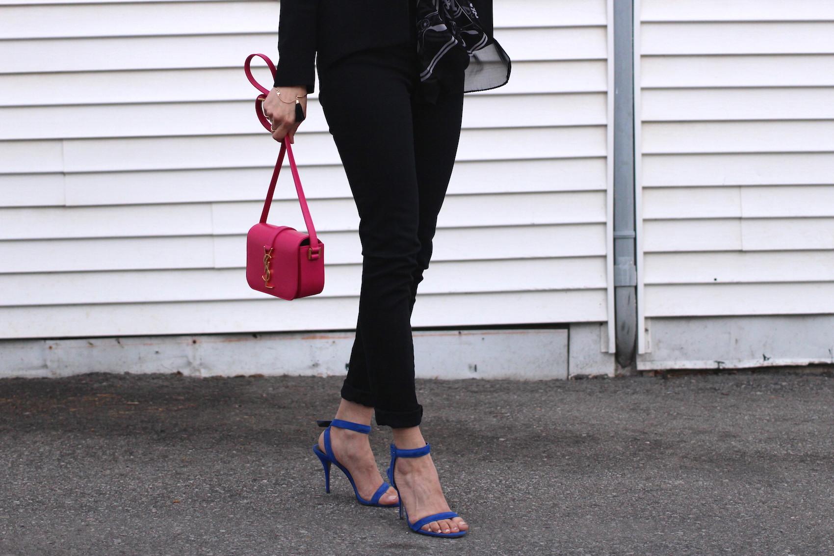 WoahStyle.com | Jbrand black skinny jeans, Saint Laurent YSL monogram cross body bag in pink, bright blue Alexander Wang Antonia heel sandals #streetstyle.JPG