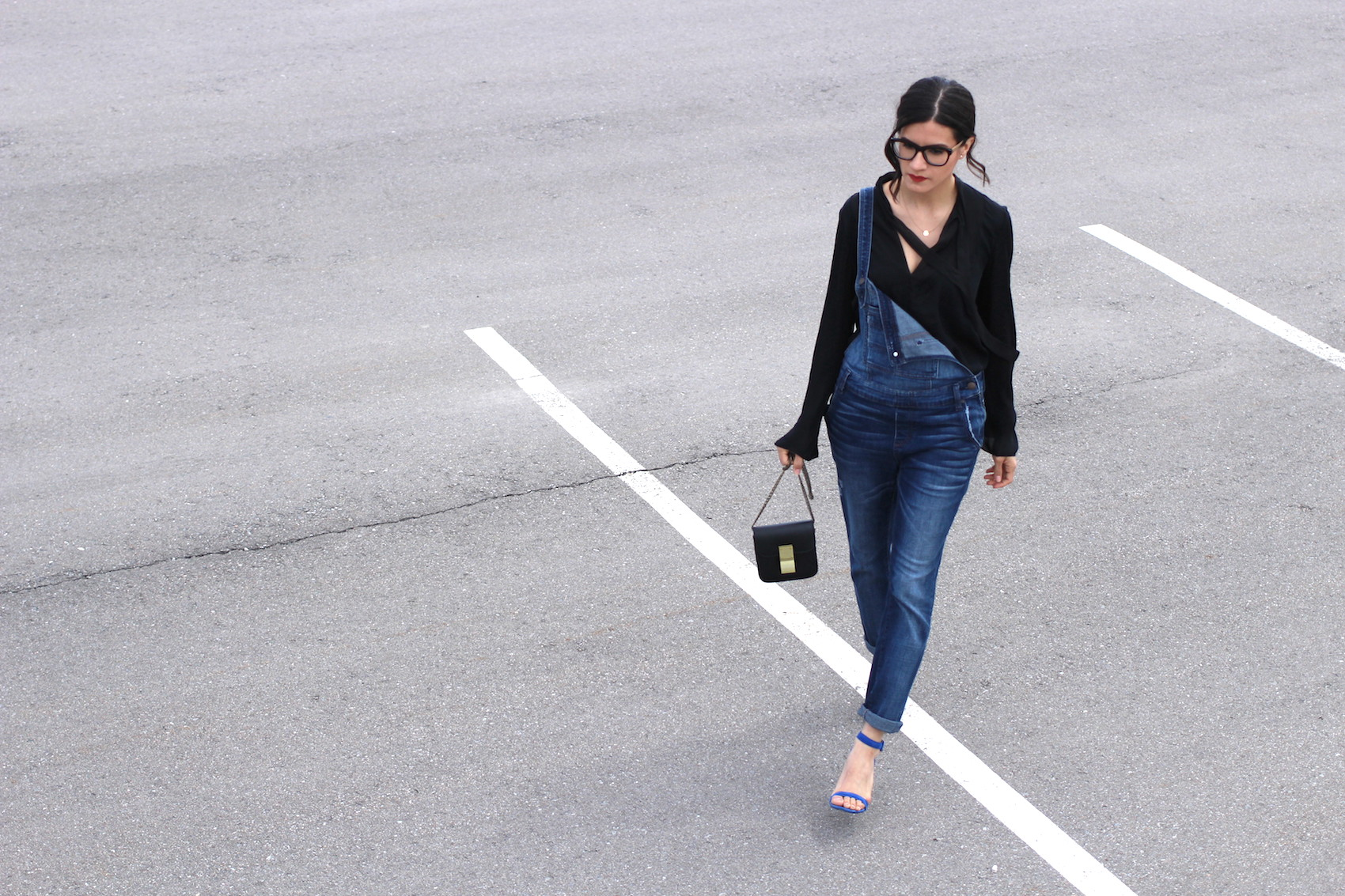 WoahStyle.com | Street Style Denim Overalls with Silk Zara shirt and blue Alexander Wang Antonia heels sandals_1430.JPG