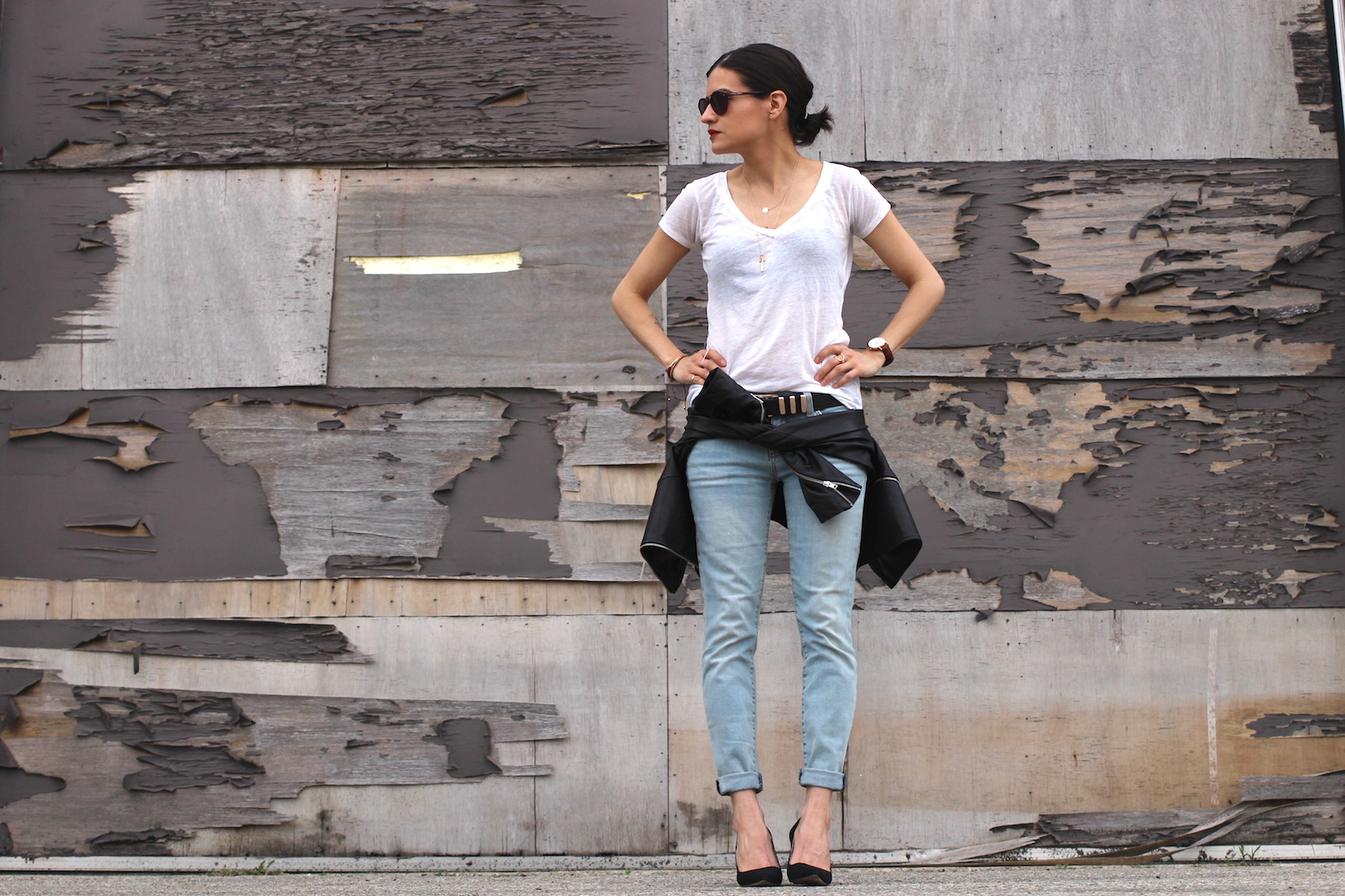 WoahStyle.com | Back to Basics #streetstyle Mackage leather jacket, blue jeans, black pumps and a white tshirt_1635.JPG