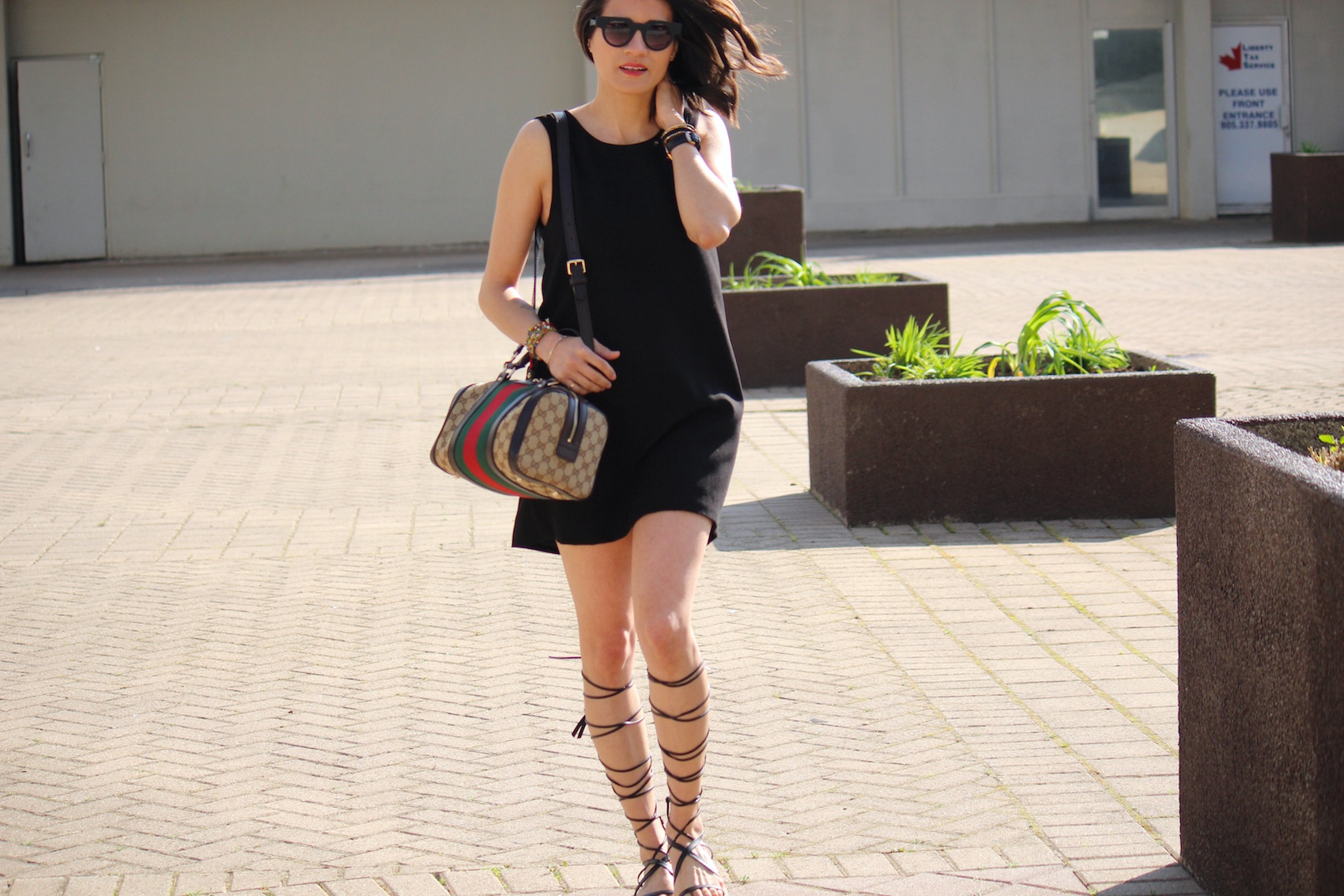 WoahStyle.com | How to Wear Black in the Summer_Black Mini Dress_Zara Gladiator Sandals_Gucci Boston Bag with Heritage Stripes_Street_Style_2874.jpg