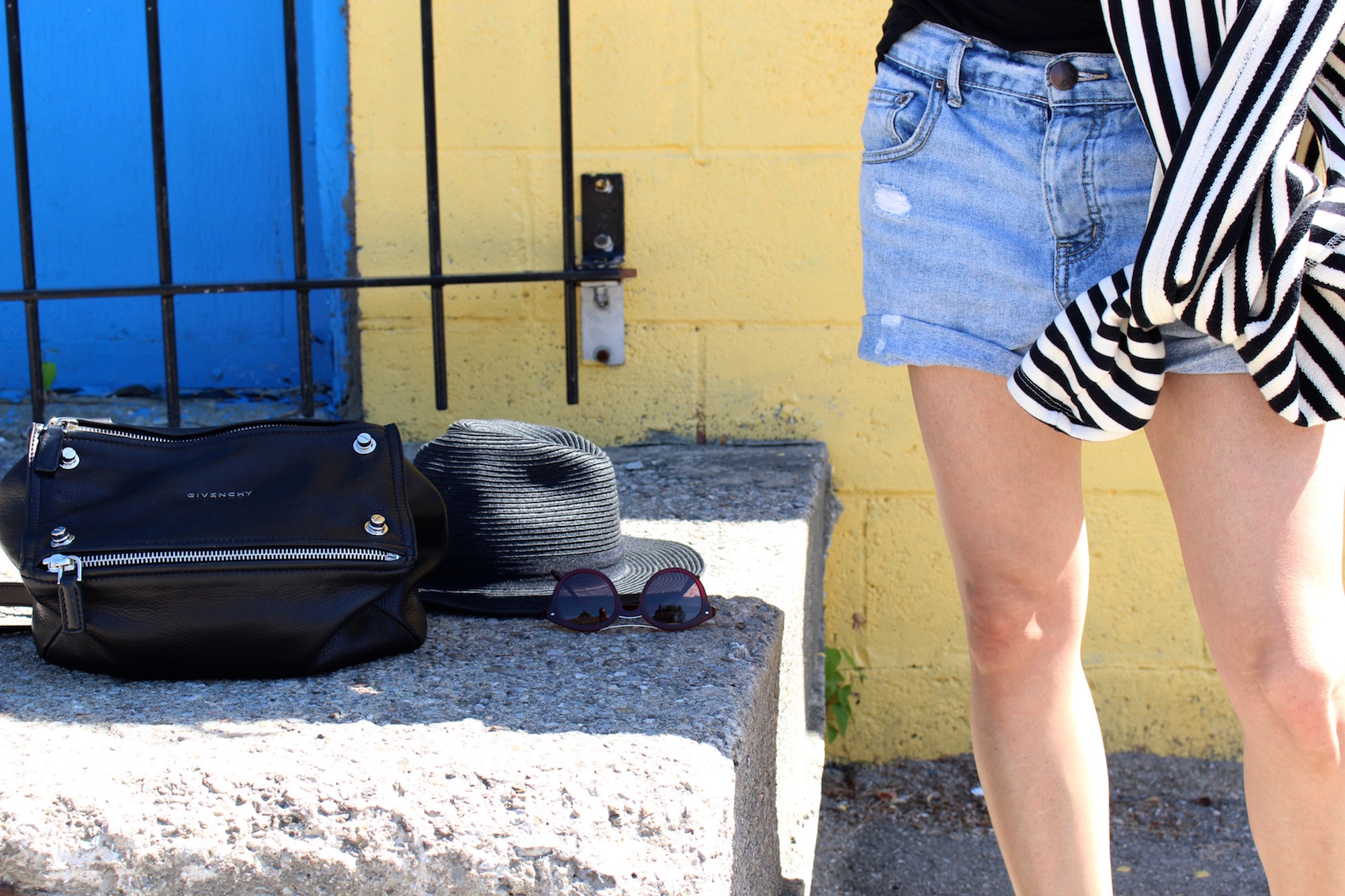 WoahStyle.com - Road Trip Style Summer_Isabel Marant  Ralf Harness Black Ankle Boots_ Small Givenchy Pandora with Studs _ Forever 21 Striped Sweater_ Brandy Melville black tank_Free People Boyfriend Shorts_Street Style_5116.jpg