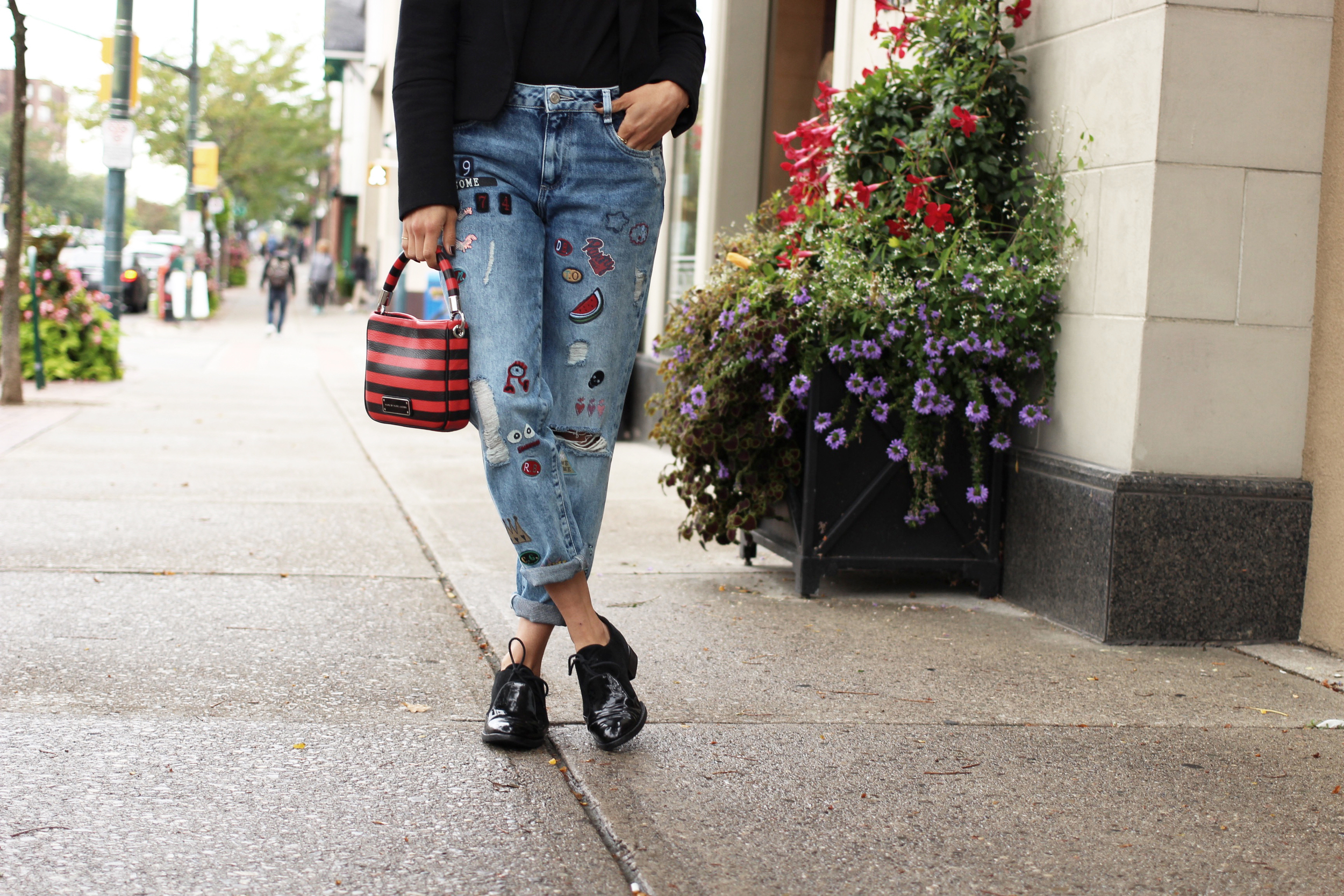 WoahStyle.com_Zara patchwork jeans_black army band blazer_jacket_red and black striped Marc By Marc Jacobs bag_MBMJ_Alexander Wang oxford shoes_TOMS purple metallic glasses_StreetStyle_Luxe_OOTD_0186.jpg